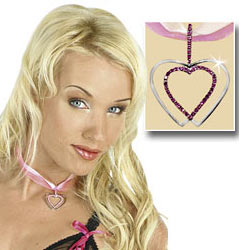 Satin and Silver Heart Necklace