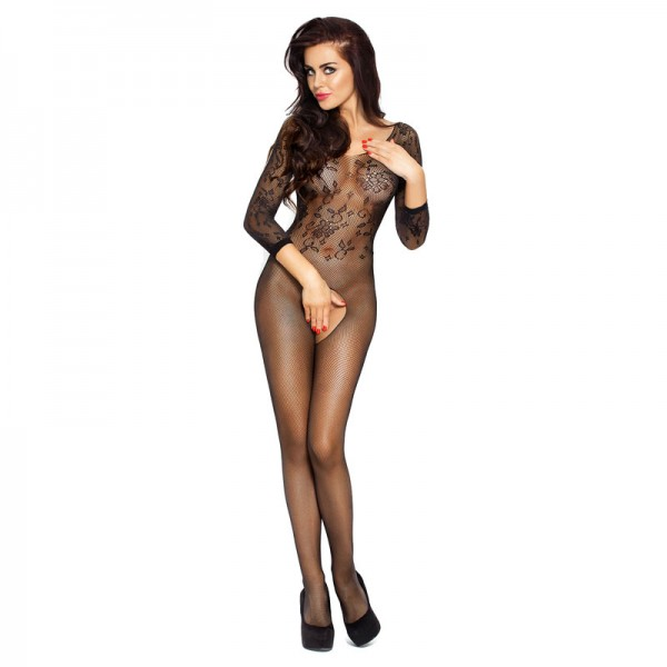 Passion Open Crotch Patterned Top Body Stocking Black