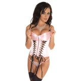 Pink Basque, String and Stockings